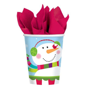 Joyful Snowman Paper Cups x8 - mypartymonsterstore
