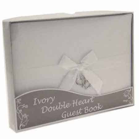 Ivory Double Heart Guest Book