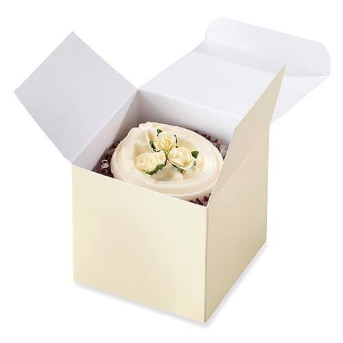 Ivory Cup Cake Boxes x8