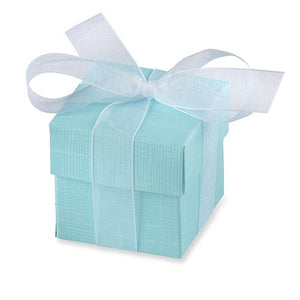 Turquoise Favour Box And Lid x10 - mypartymonsterstore