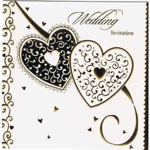 Gold Heart Wedding Invitations x6