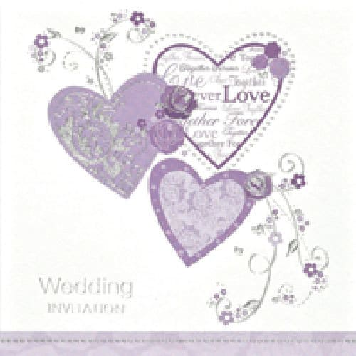 Hearts Wedding Invitations x6