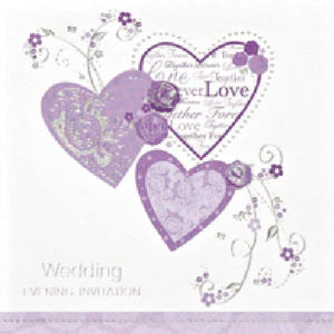 Wedding Evening Heart Invitations x6