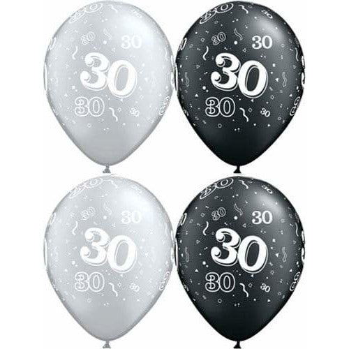 Happy 30th Birthday Pearl Onyx Black And Silver x25