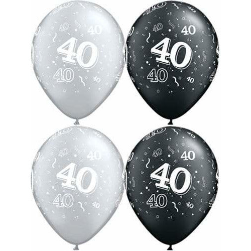 Happy 40th Birthday Pearl Onyx Black And Silver x25