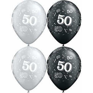 Happy 50th Birthday Pearl Onyx Black And Silver x25 - mypartymonsterstore