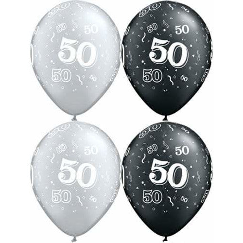 Happy 50th Birthday Pearl Onyx Black And Silver x25