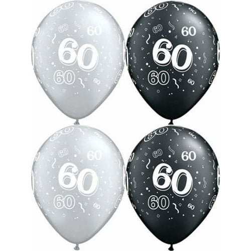 Happy 60th Birthday Pearl Onyx Black And Silver x25