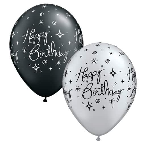 Pearl Black And Silver Elegant Sparkles Latex Balloons x25