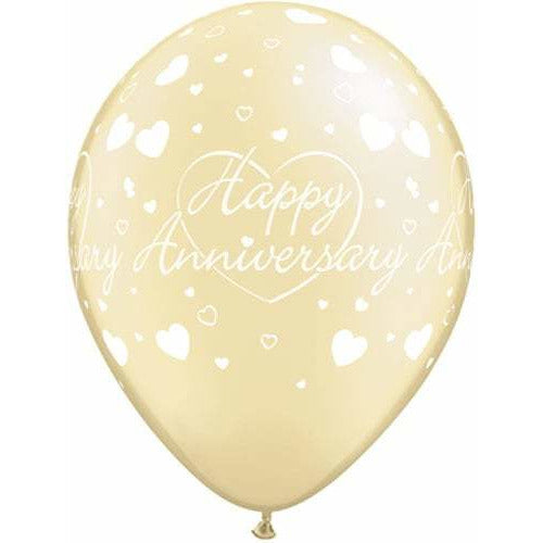 Happy Anniversary Hearts Latex Balloons x25