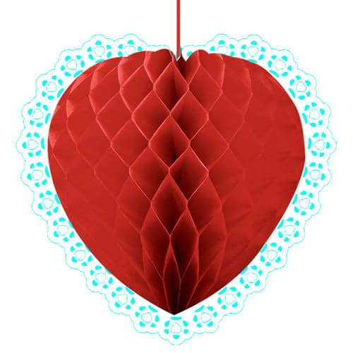 Red Heart Honeycomb Decoration