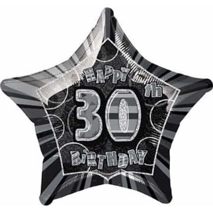 Happy 30th Birthday Black Glitz Foil Balloon