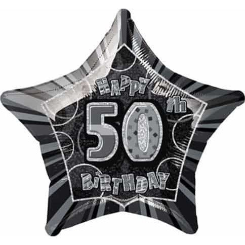 Happy 50th Birthday Black Glitz Foil Balloon