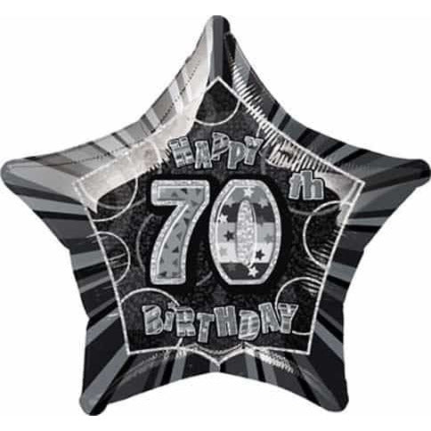 Happy 70th Birthday Black Glitz Foil Balloon