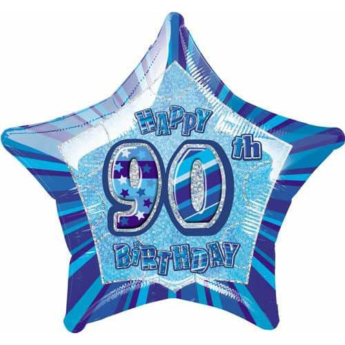 Happy 90th Birthday Blue Glitz Foil Balloon
