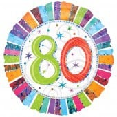 Radiant 80th Birthday Foil Balloon