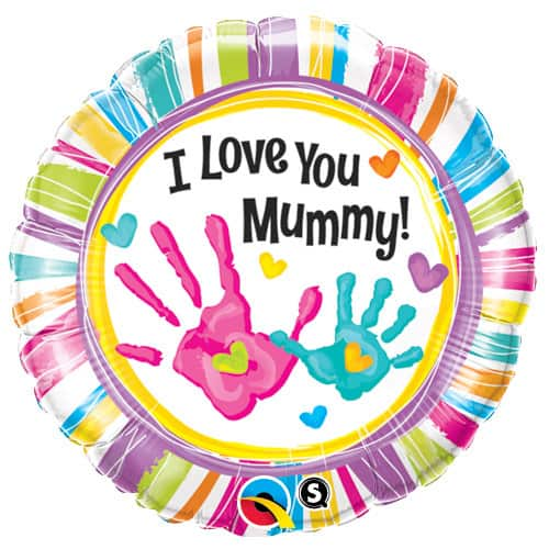 I Love You Mummy Handprints Foil Balloons