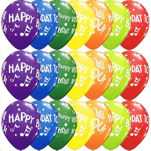 Happy Birthday To You Music Notes Latex Balloons x25 - mypartymonsterstore