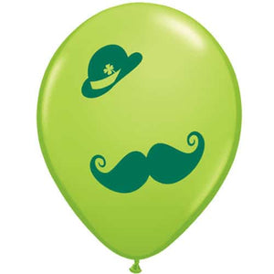 St Patrick's Derby And Moustache Latex Balloons 50pk