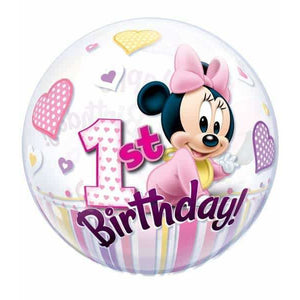 Minnie Mouse 1st Birthday Single Bubble Balloon - mypartymonsterstore