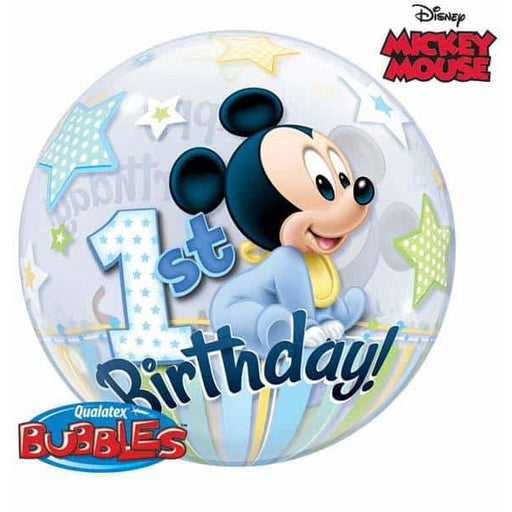 Mickey Mouse 1st Birthday Single Bubble Balloon