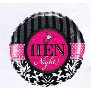 Hen Night Damask And Stripes Foil Balloon