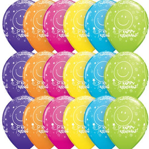 Retirement Smile Face A Round Assorted Latex Balloons x25 - mypartymonsterstore