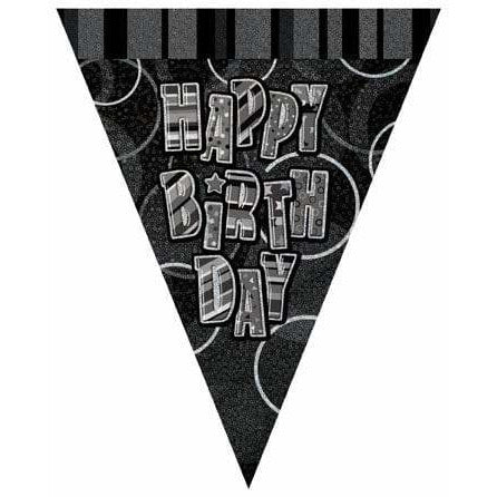 Happy Birthday Glitz Flag Banner
