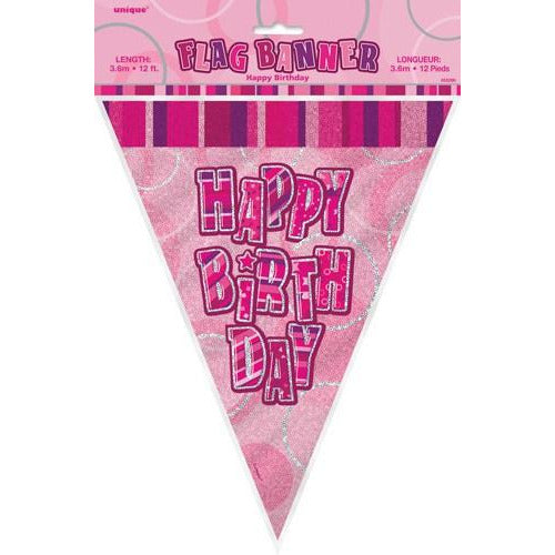 Happy Birthday Pink Glitz Flag Banner