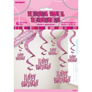 Happy Birthday Pink Swirl Decoration