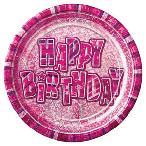 Happy Birthday Pink Glitz Plates x8