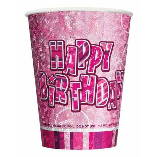 Happy Birthday Pink Glitz Cups x8