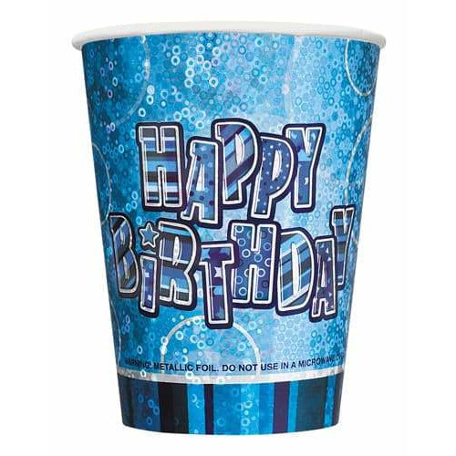 Happy Birthday Blue Glitz Cups x8