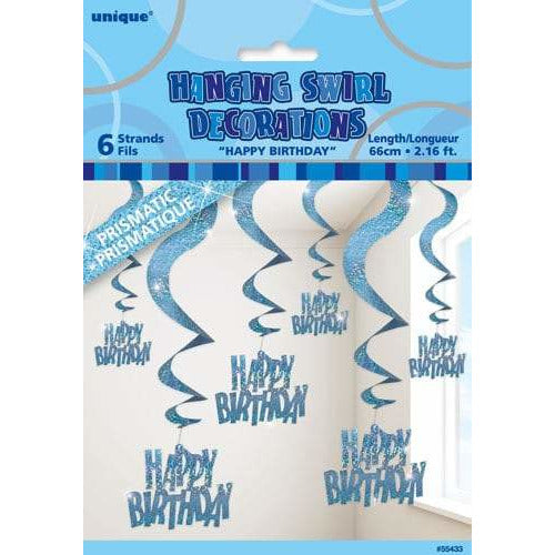 Happy Birthday Blue Swirl Decoration