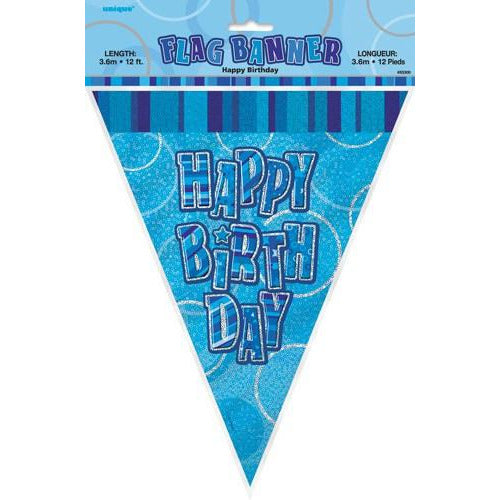 Happy Birthday Blue Glitz Flag Banner