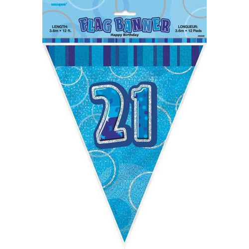 Happy 21st Birthday Blue Glitz Flag Banner
