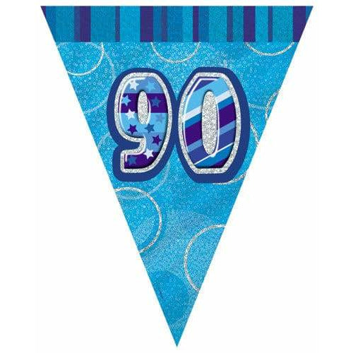 Happy 90th Birthday Blue Glitz Flag Banner