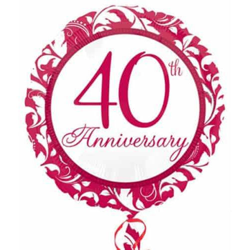 Elegant Scroll 40th Anniversary Foil Balloon