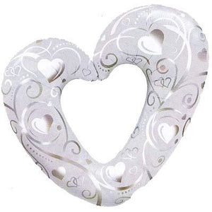 Pearl White Hearts And Filigree Supershape Balloon