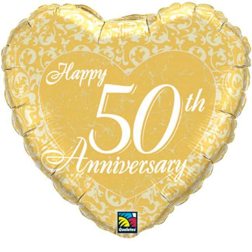Happy 50th Anniversary Heart Foil Balloon