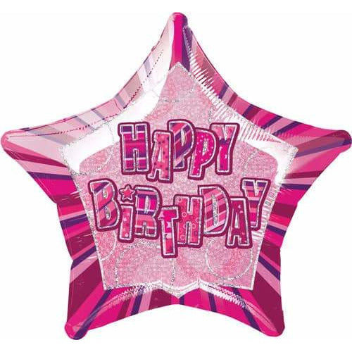 Happy Birthday Pink Glitz Foil Balloon