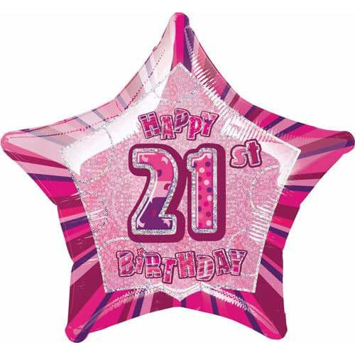 Happy 21st Birthday Pink Glitz Foil Balloon