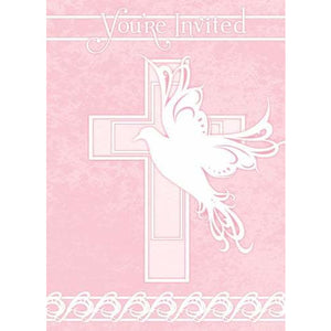 Dove Cross Pink Invitations x8