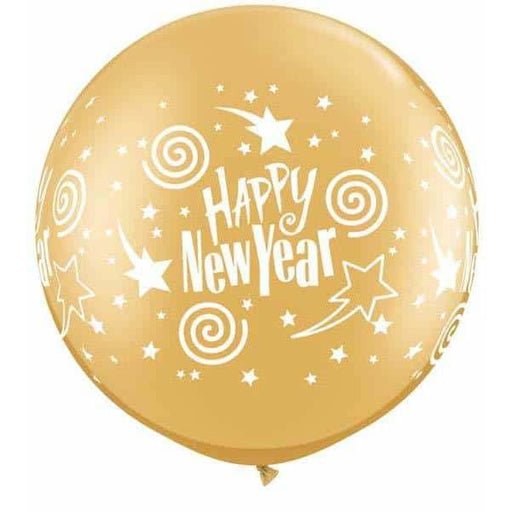New Year Gold Swirling Stars Giant Latex Balloons 2pk