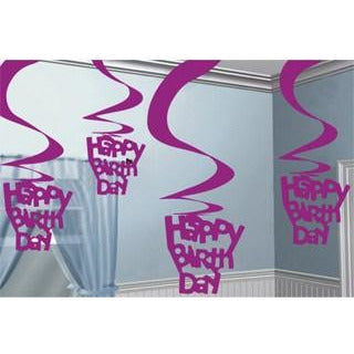 Happy Birthday Pink Hanging Swirl Decoration