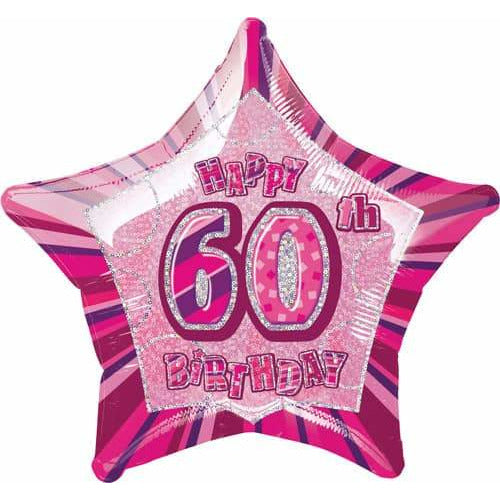 Happy 60th Birthday Pink Glitz Foil Balloon
