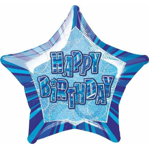Happy Birthday Blue Glitz Foil Balloon
