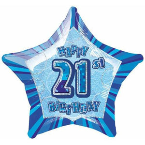 Happy 21st Birthday Blue Glitz Foil Balloon
