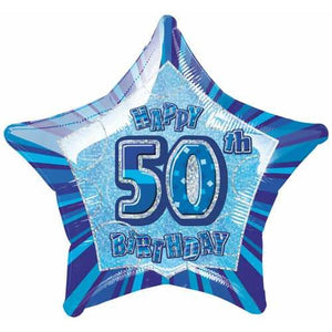 Happy 50th Birthday Blue Glitz Foil Balloon