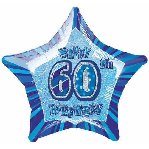 Happy 60th Birthday Blue Glitz Foil Balloon